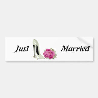 Bouquet Roses and Wedding Stiletto Gifts Car Bumper Sticker