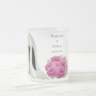 Bouquet Roses and Wedding Stiletto Gifts Frosted Glass Coffee Mug
