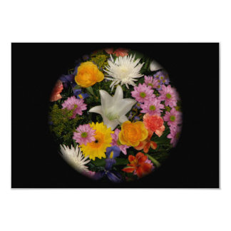Bouquet: roses, mums, lily, irises, dahlias card