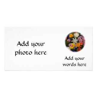 Bouquet: roses, mums, lily, irises, dahlias photo greeting card