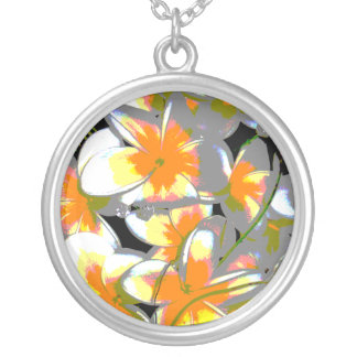 bouquet style silver plated necklace