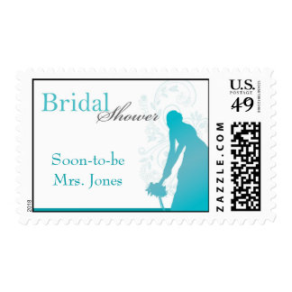 Bouquet Toss Bridal Shower - Teal, Blue, White Stamps