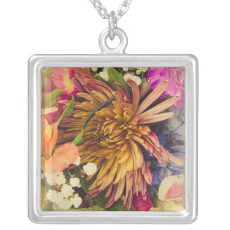 Bouquet (Warm Colors) Silver Plated Necklace