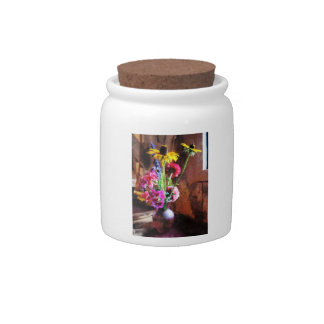 Bouquet With Black-Eyed Susans and Phlox Candy Jar