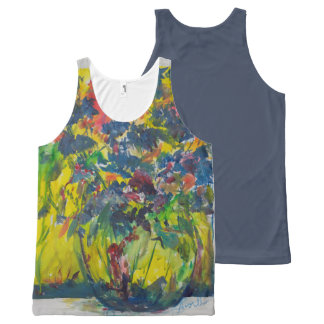 Bouquet with Blue Flowers All-Over Print Tank Top