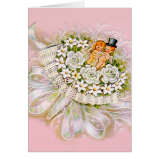 Bouquet with Bride and Groom vintage wedding card