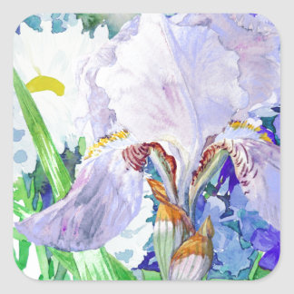Bouquet with iris and flowers square sticker