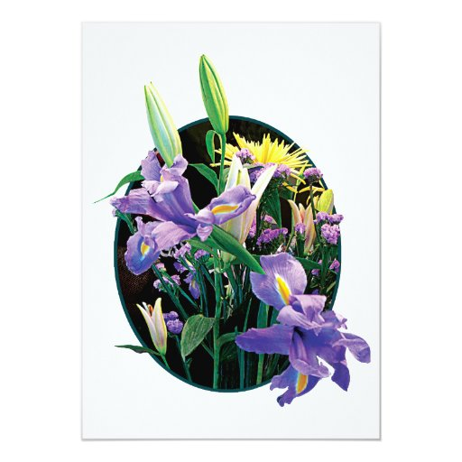 Bouquet with Japanese Irises 5x7 Paper Invitation Card