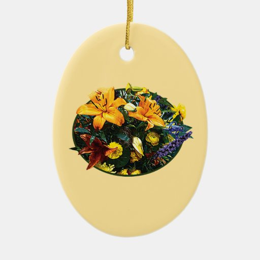Bouquet with Lilies Double-Sided Oval Ceramic Christmas Ornament