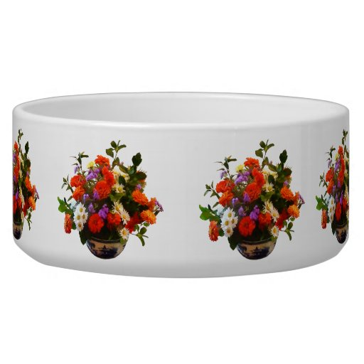 Bouquet with Mums and Daisies Dog Bowls