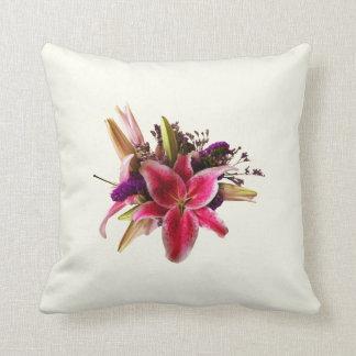 Bouquet With Stargazer Lilies Throw Pillow