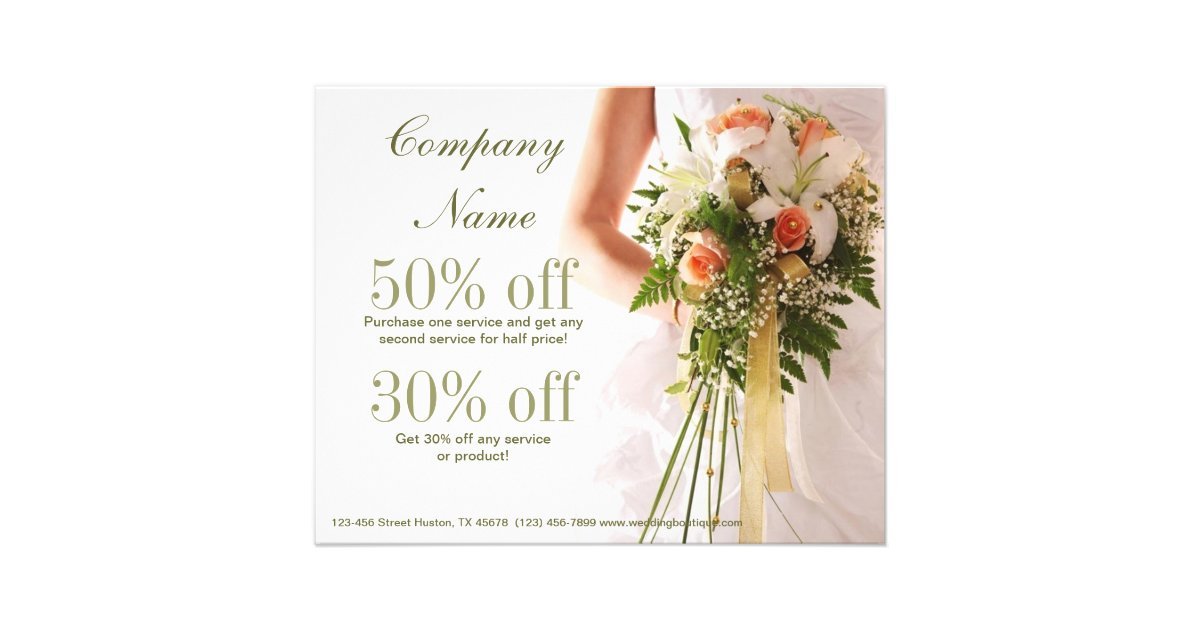 Bouquets Bridal Shop Wedding Planner Business Flyer | Zazzle
