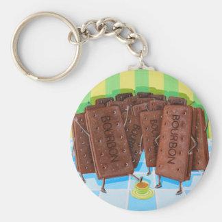 Bourbon Cream Tea Basic Round Button Keychain