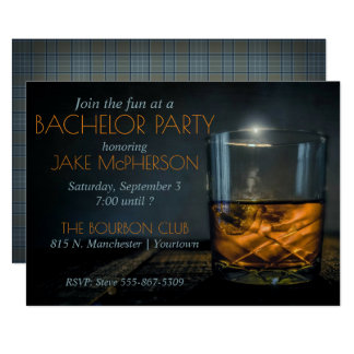 Bourbon Gentleman Plaid Bachelor Invitation
