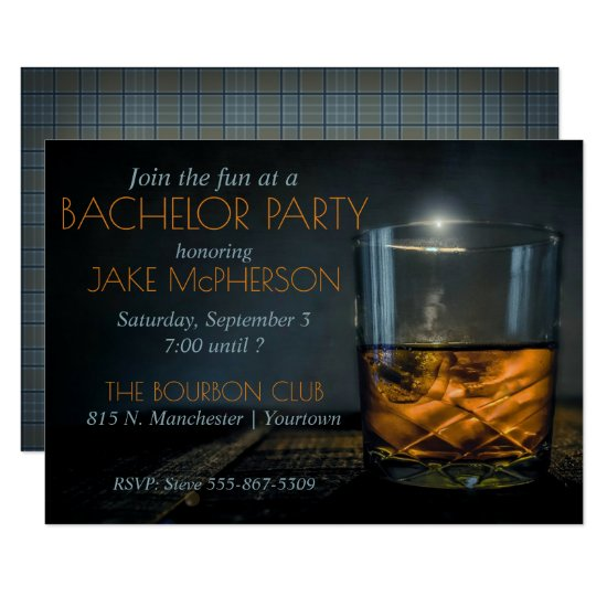 Bourbon Gentleman Plaid Bachelor Invitation