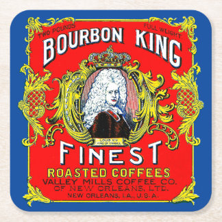 Bourbon King Finest Roasted Coffees Square Paper Coaster