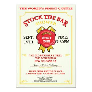 """Bourbon label Stock the bar invitation 5"""" X 7"""" Invitation Card"""