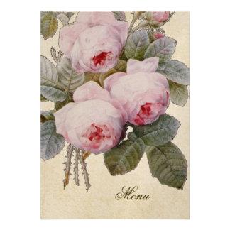 Bourbon Rose Floral Custom Wedding Menu Personalized Invitations