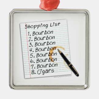 BOURBON SHOPPING LIST COCKTAIL HUMOR METAL ORNAMENT
