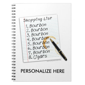 BOURBON SHOPPING LIST COCKTAIL HUMOR SPIRAL NOTEBOOK