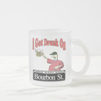 Bourbon St  Drunk Frosted Glass Coffee Mug