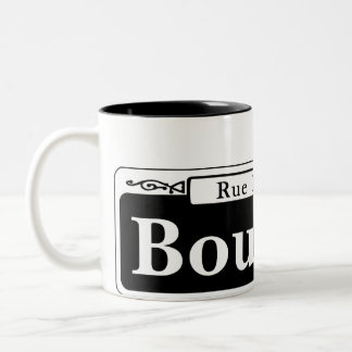 Bourbon St., New Orleans Street Sign Two-Tone Coffee Mug