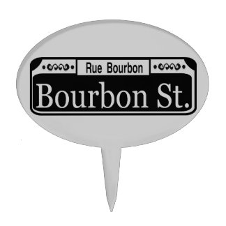 Bourbon St. Small Plastic Sign Cake Topper