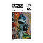 Bourbon Street Mardi Gras Art Postage Stamp