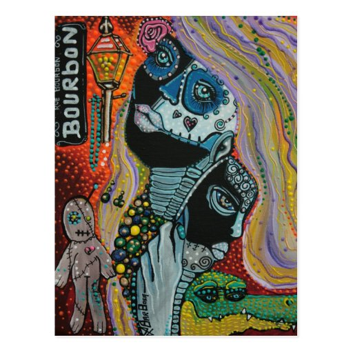 Bourbon Street Mardi Gras Art Postcards