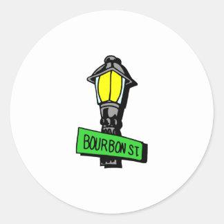Bourbon Street Mardi Gras Round Stickers