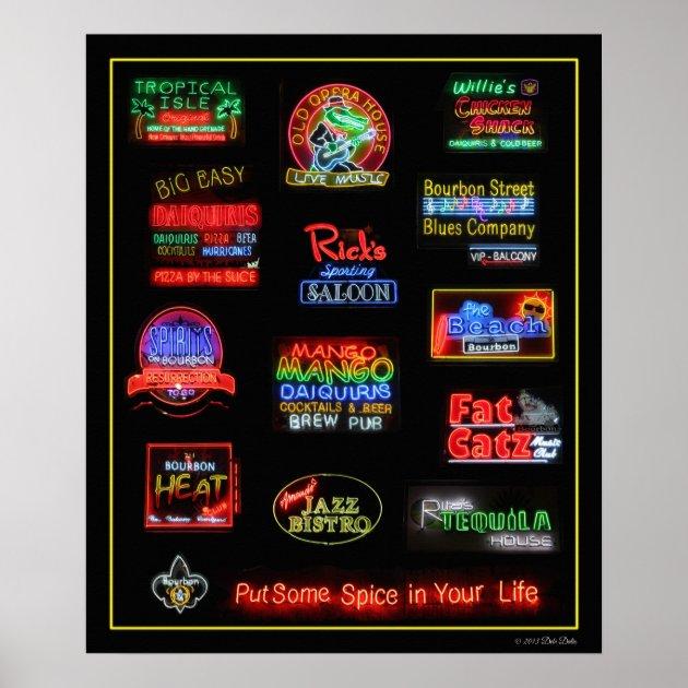 Studio Dalio - Bourbon Street Neon Saloon Signs Poster