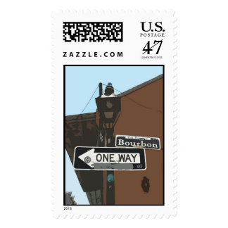 bourbon street sign drawing  postage