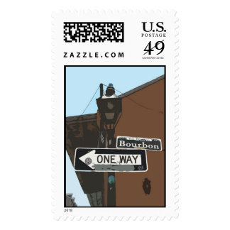 bourbon street sign drawing  stamp