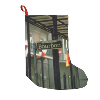 Bourbon Street Sign in New Orleans Small Christmas Stocking