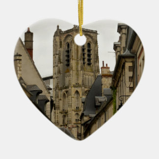 Bourges, France Double-Sided Heart Ceramic Christmas Ornament