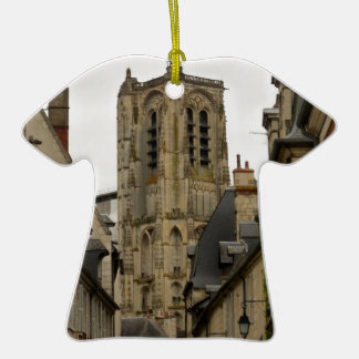 Bourges, France Double-Sided T-Shirt Ceramic Christmas Ornament