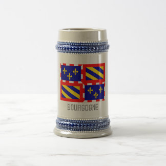Bourgogne flag with name 18 oz beer stein
