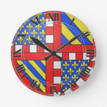 Bourgogne (France) Coat of Arms Round Wall Clock