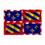Bourgogne waving flag postcard