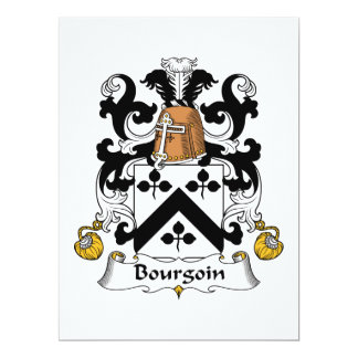 Bourgoin Family Crest Personalized Announcements