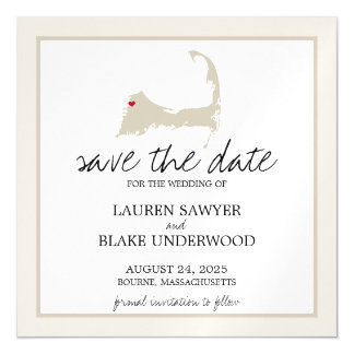 Bourne Cape Cod Wedding Save the Date Magnetic Card