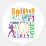 Bourne Softball Round Stickers