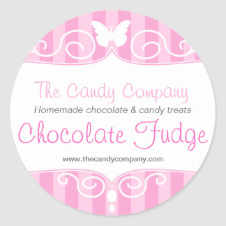 Boutique candy shop pink food round stickers