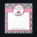"""Boutique Chic Business Mini Notepad<br><div class=""""desc"""">Sweet polka dot cupcake 3D look tag and trims with black and white zebra print and hot pink accents business notepad design.</div>"""