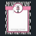 """Boutique Chic Cake Bakery Letterhead<br><div class=""""desc"""">Zebra print with hot pink accents and chic cake letterhead design for small business.</div>"""