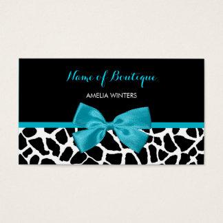 Boutique Chic Giraffe Print Aqua Blue Ribbon Bow Business Card