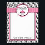 "Boutique Chic Letterhead<br><div class=""desc"">Zebra print with hot pink accents and cupcake design.</div>"