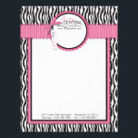 """Boutique Chic Letterhead FC<br><div class=""""desc"""">Zebra print with hot pink accents and polka dot 3D-look bow.</div>"""