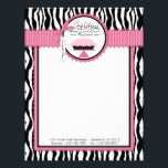 """Boutique Chic Pie Bakery Letterhead<br><div class=""""desc"""">Zebra print with hot pink accents and pie letterhead design for small business.</div>"""