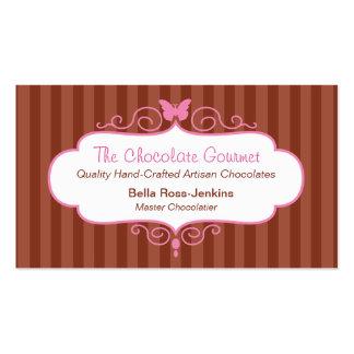 Boutique chocolate shop stripe business card